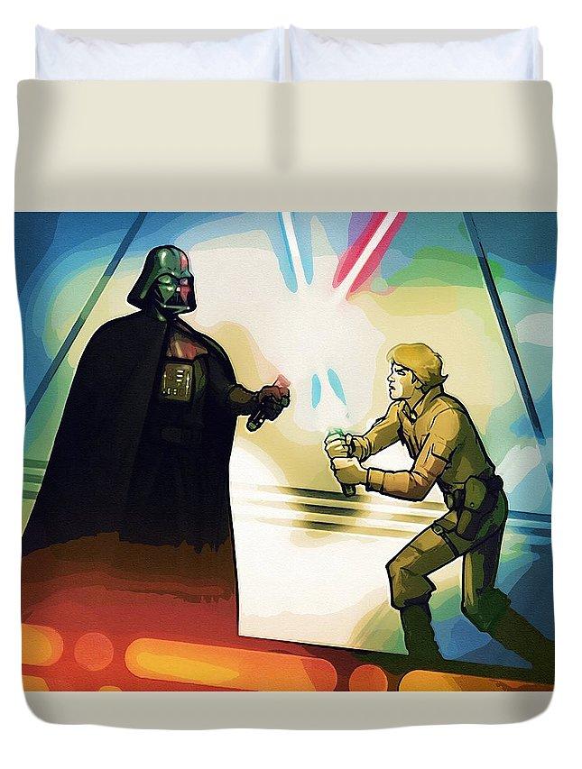 Kids Star Wars Duvet Cover featuring the digital art Galaxies Star Wars Art by Larry Jones