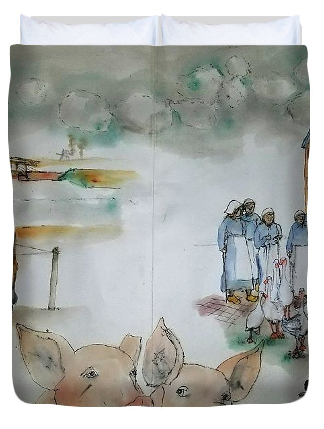 The Netherlands. Market Time Duvet Cover featuring the painting Land Of Clogs And Windmill Album by Debbi Saccomanno Chan