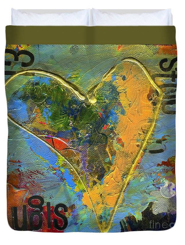 Heart Duvet Cover featuring the photograph 13 Of Hearts Stop Sign, Heartache Series. by Elizabeth Greene