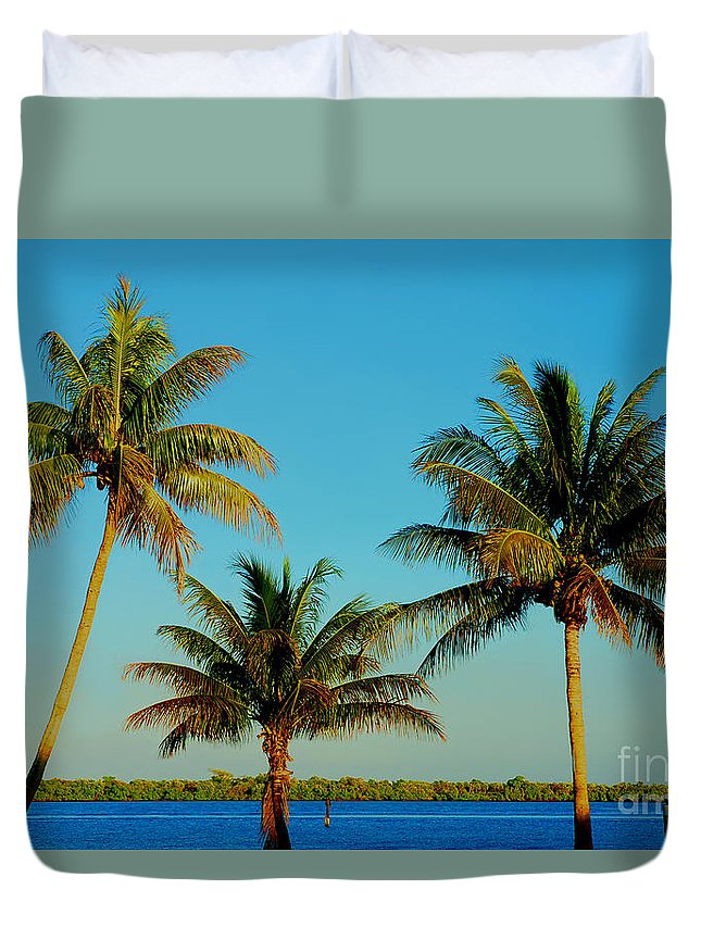 Palm Trees Duvet Cover featuring the photograph 13- Palms In Paradise by Joseph Keane