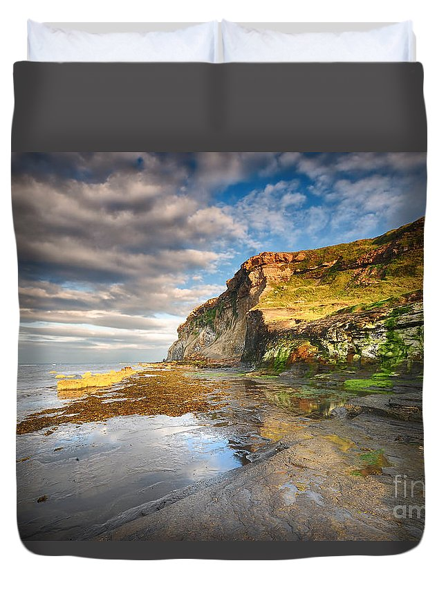Saltwick Bay Duvet Cover featuring the photograph Saltwick Bay by Smart Aviation