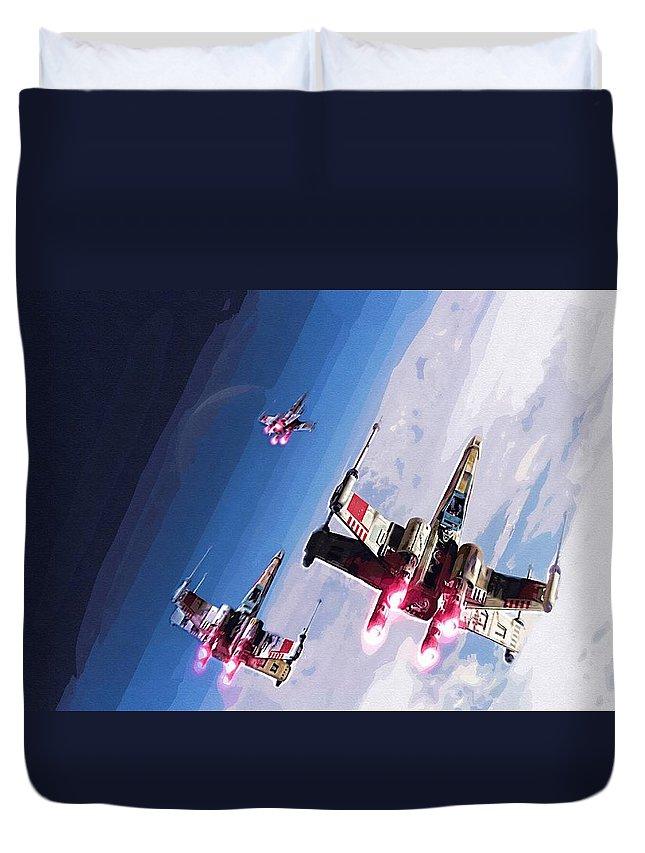 Anakin Star Wars Duvet Cover featuring the digital art Star Wars Episode 5 Art by Larry Jones