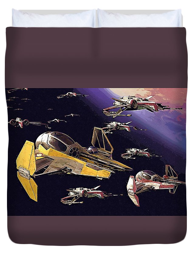 Star Wars Galactic Heroes Duvet Cover featuring the digital art Star Wars Old Poster by Larry Jones