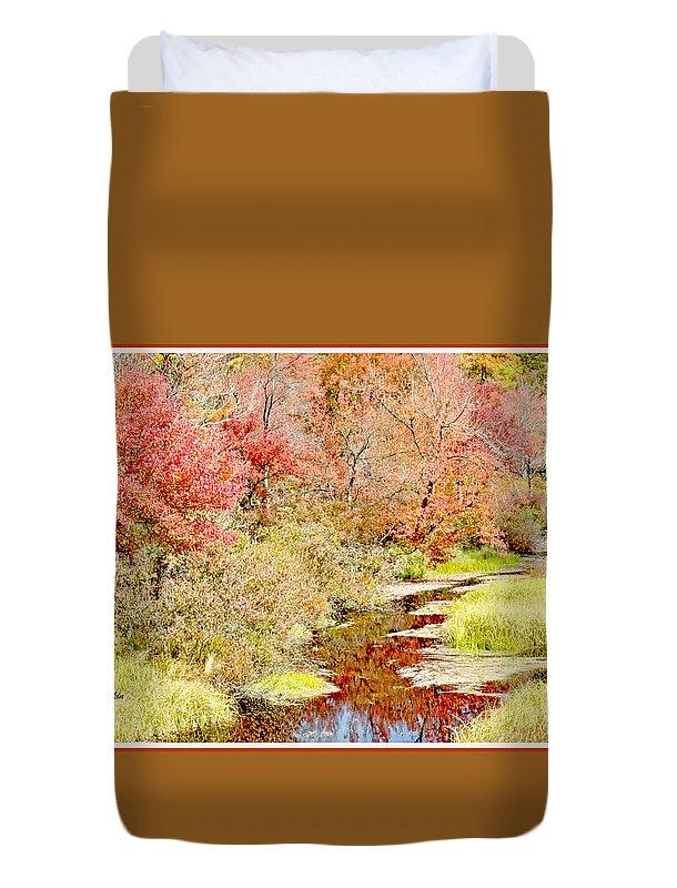 Color Duvet Cover featuring the photograph Stream In Autumn, Pocono Mountains, Pennsylvania by A Gurmankin
