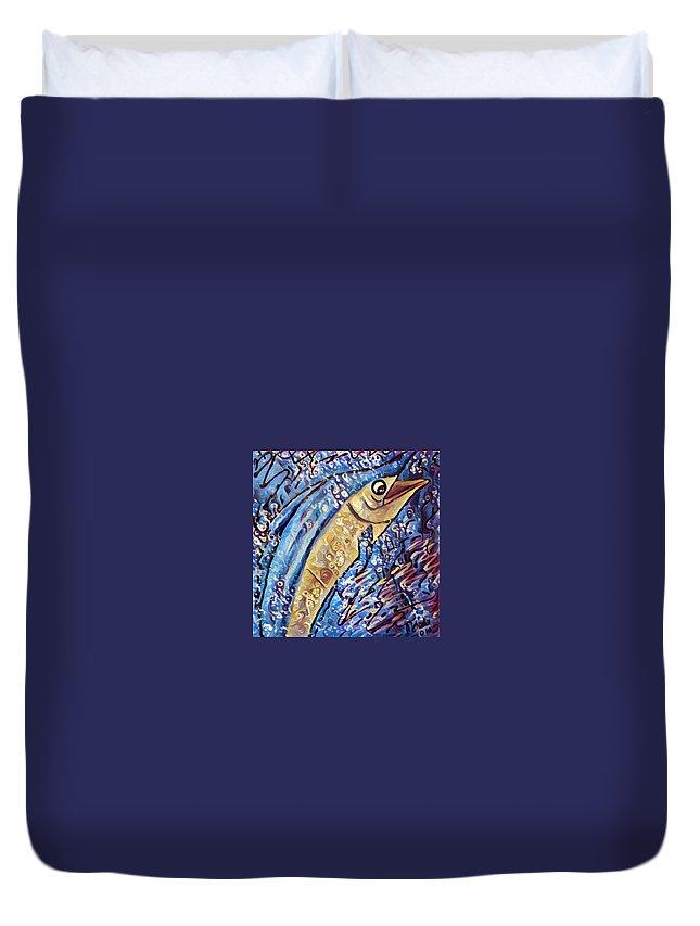 Duvet Cover featuring the digital art Swordfish by Melinda Sullivan Image and Design