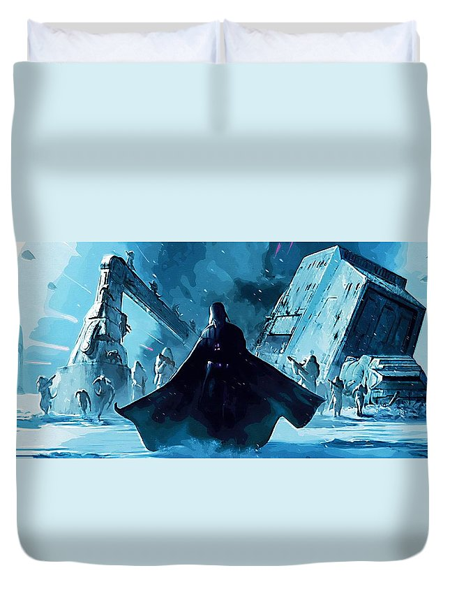 R2d2 Star Wars Duvet Cover featuring the digital art Video Star Wars Poster by Larry Jones