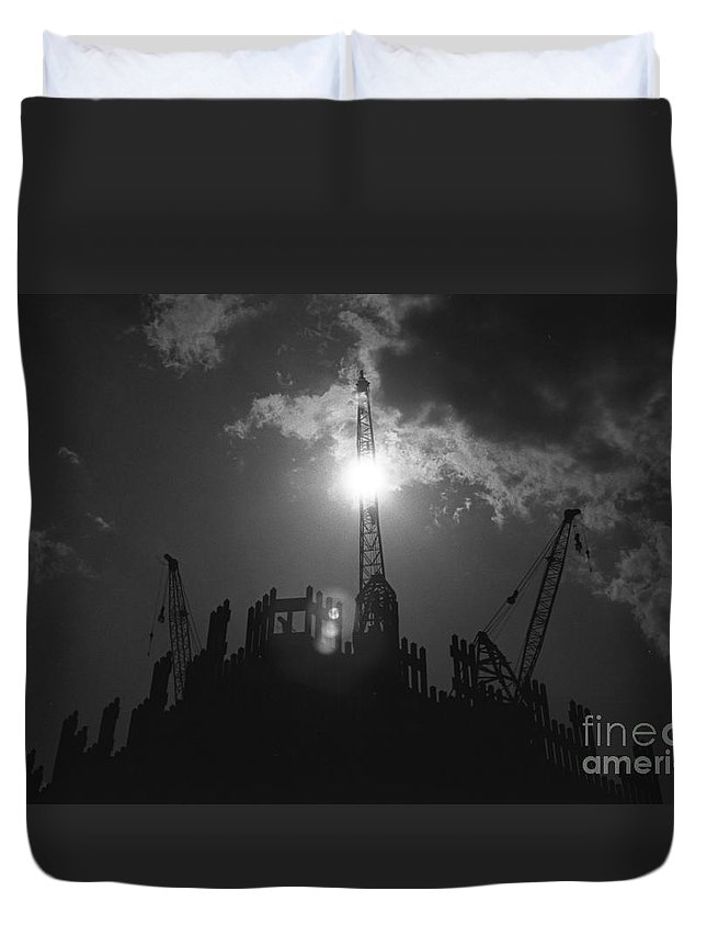 World Trade Center Construction Black And White 1967 Duvet Cover featuring the photograph World Trade Center Under Construction 1967 by Bob Bennett