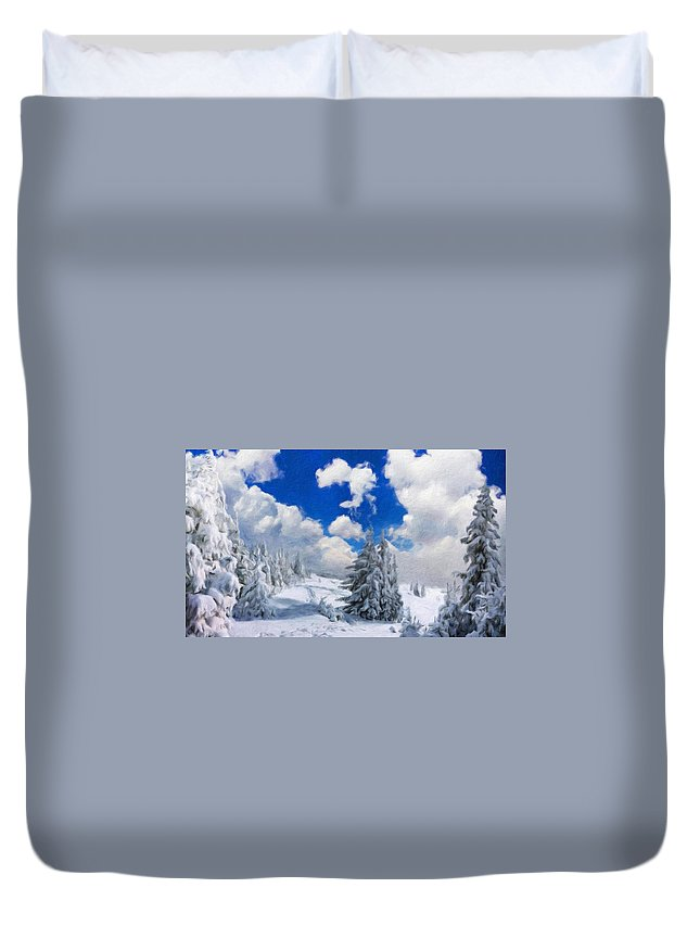 Landscape Duvet Cover featuring the painting Landscape Paintings Nature by World Map