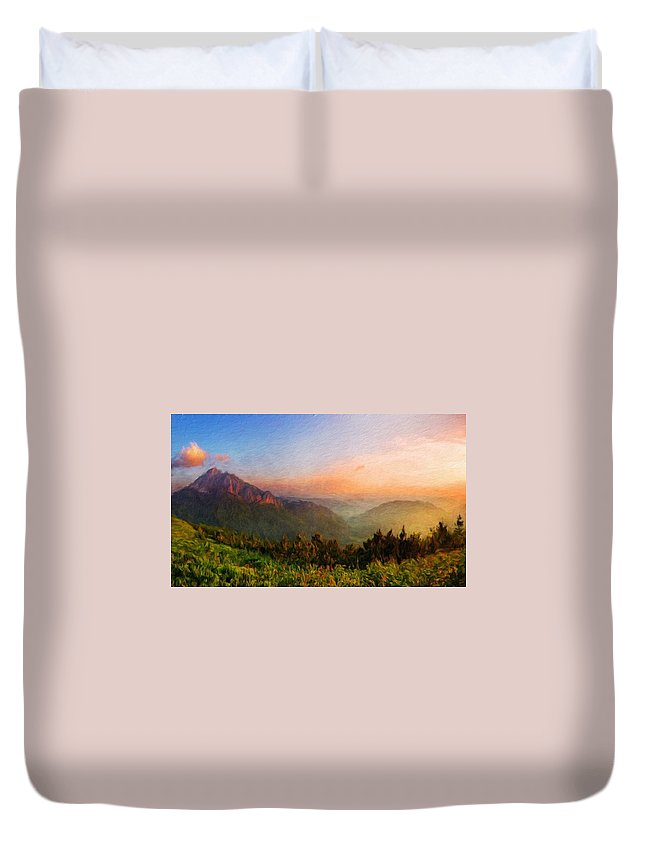 Landscape Duvet Cover featuring the painting Nature Landscape Light by World Map