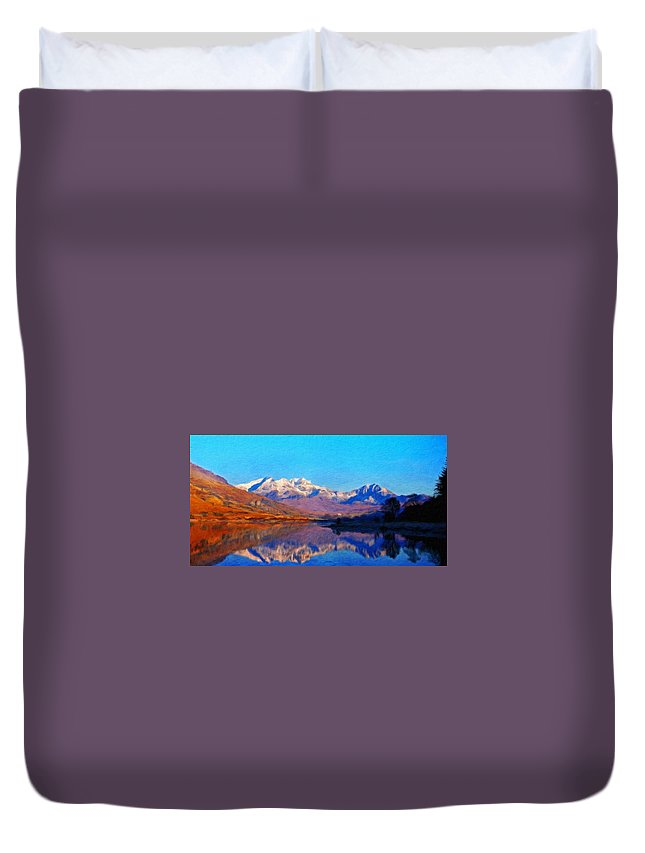 Landscape Duvet Cover featuring the painting Landscape Oil Painting Nature by World Map