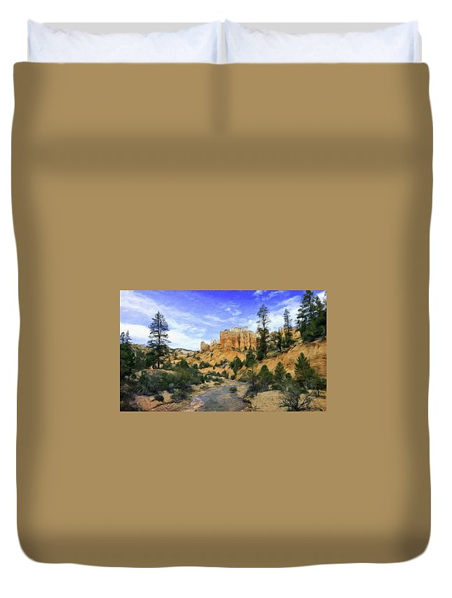 Landscape Duvet Cover featuring the painting Landscape Painted by World Map