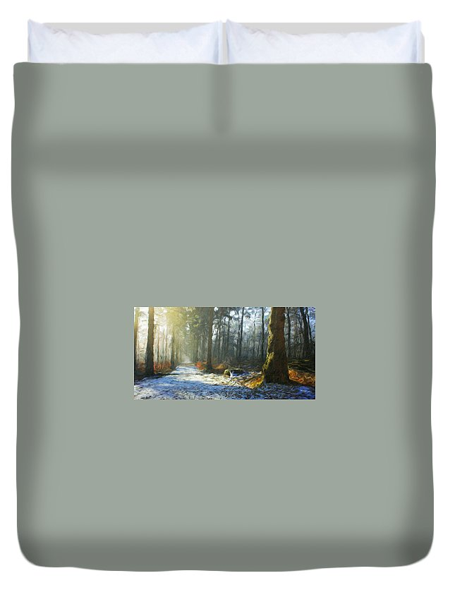Landscape Duvet Cover featuring the painting Oil Paintings Art Landscape Nature by World Map