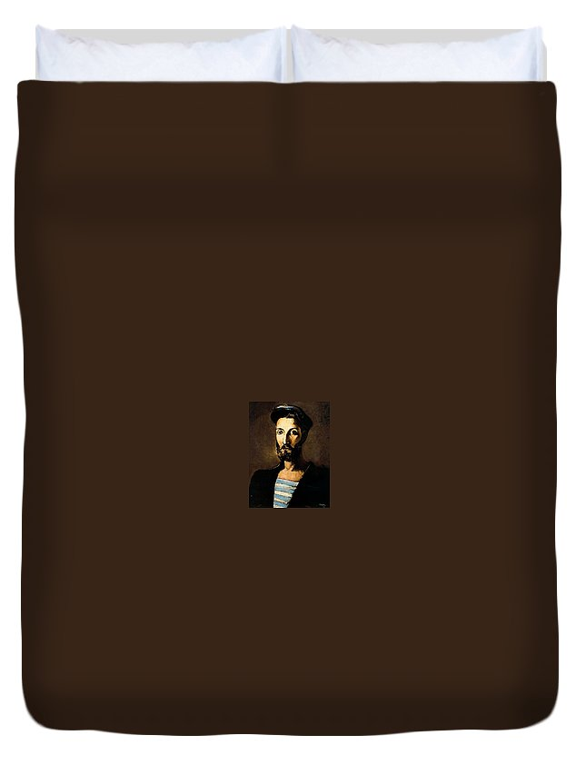 Mask Duvet Cover featuring the digital art 13618 Pere Pruna by Eloisa Mannion