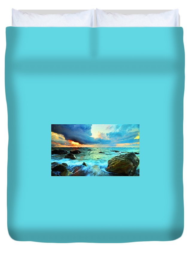 Landscape Duvet Cover featuring the painting Art Landscape Nature by World Map