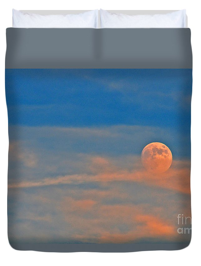 Moon Duvet Cover featuring the photograph 14- Moonfire by Joseph Keane