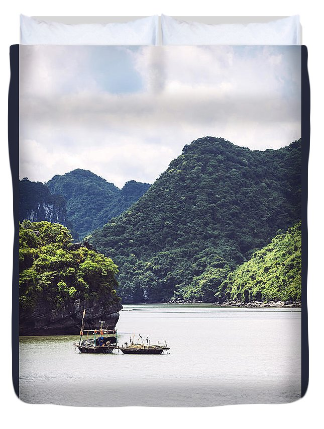 Halong Duvet Cover featuring the photograph Picturesque Sea Landscape. Ha Long Bay, Vietnam by Eduardo Huelin