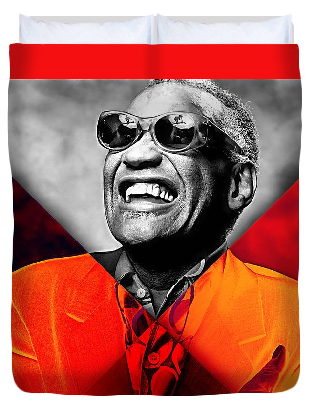 Ray Charles Duvet Cover featuring the mixed media Ray Charles Collection by Marvin Blaine