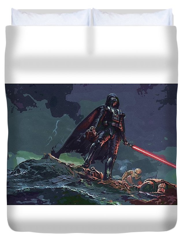 Star Wars For Duvet Cover featuring the digital art Star Wars Characters Art by Larry Jones