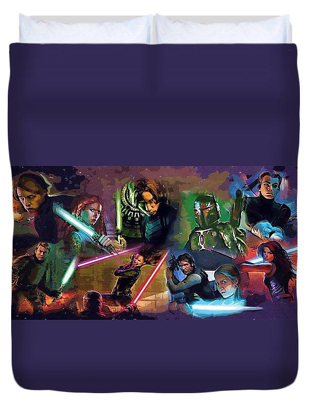 Star Wars Yoda Duvet Cover featuring the digital art Star Wars Galaxies Art by Larry Jones