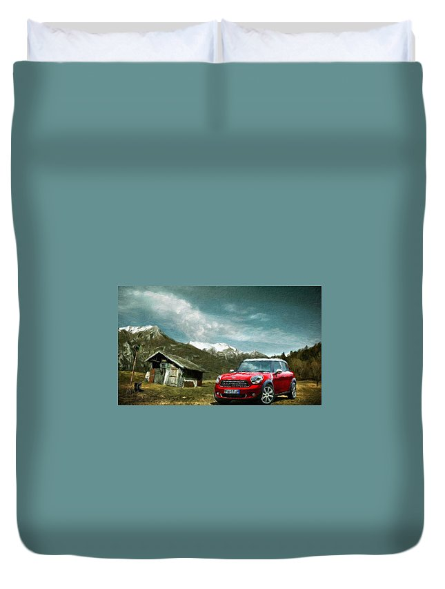 Landscape Duvet Cover featuring the painting Nature Landscape Illumination by World Map