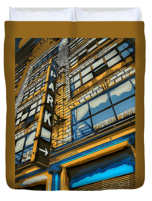 Sign Duvet Cover featuring the digital art 142 Park by Dan Stone