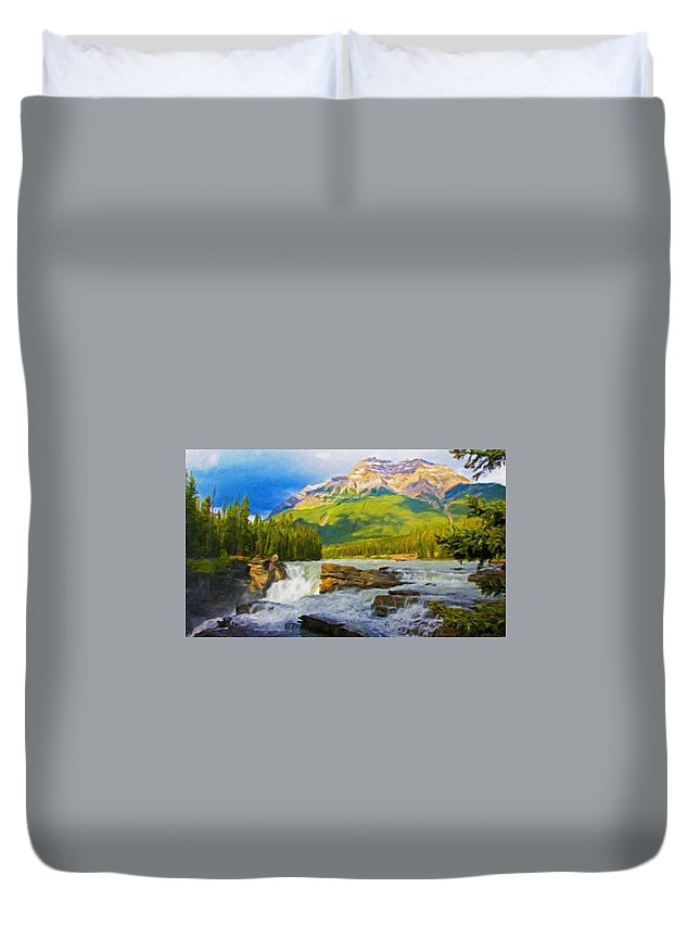 Landscape Duvet Cover featuring the painting Nature Landscape Oil by World Map