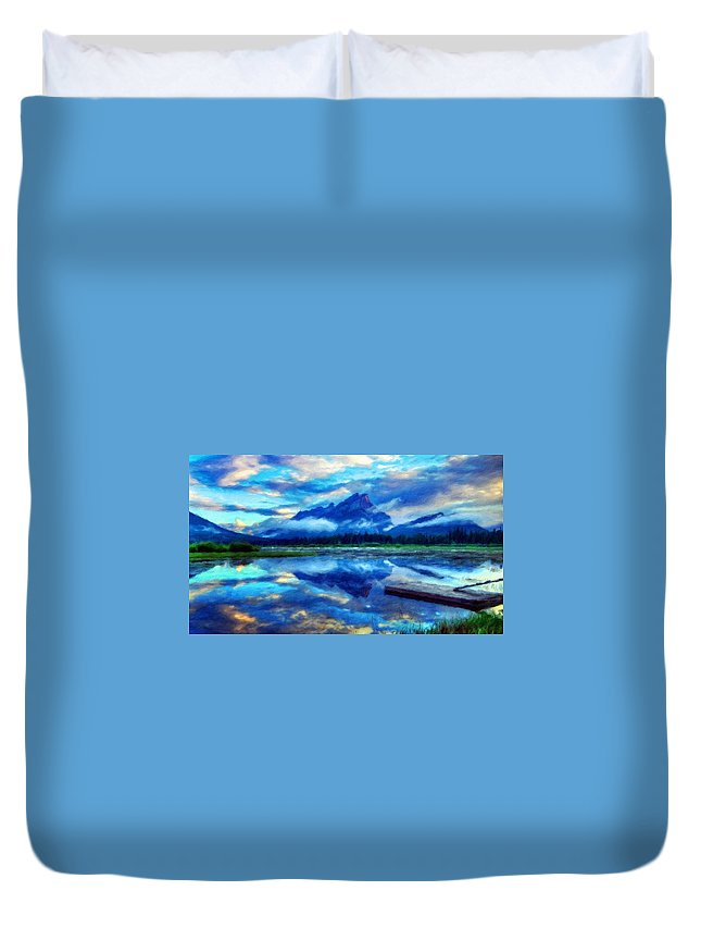 Landscape Duvet Cover featuring the painting Nature Landscape Paintings by World Map