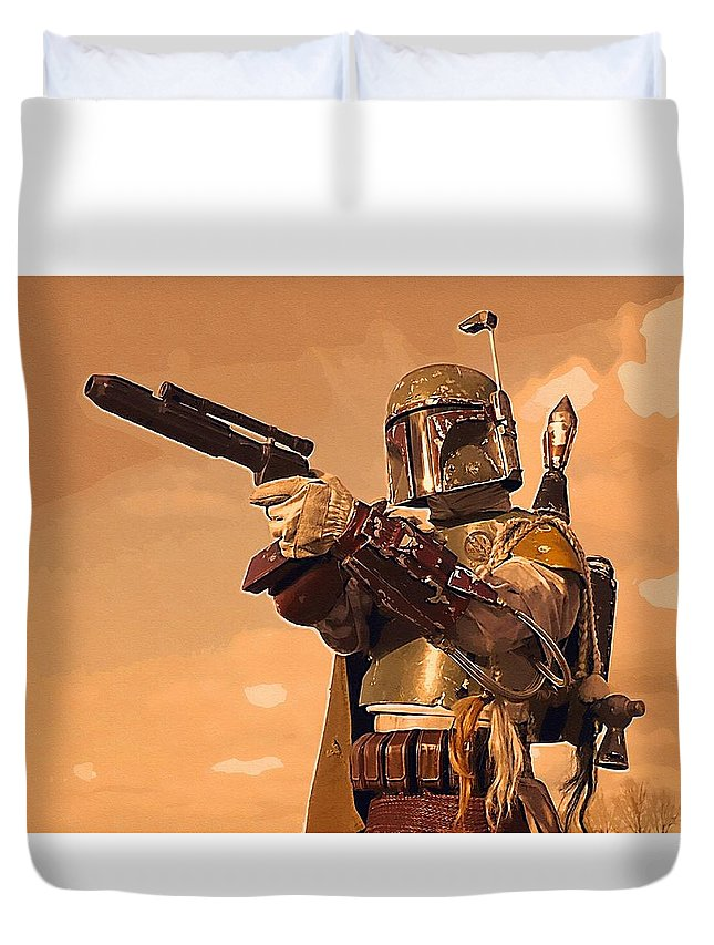 Kids Star Wars Duvet Cover featuring the digital art A Star Wars Poster by Larry Jones