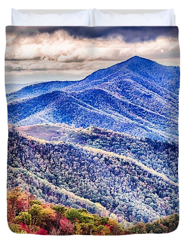 Mountain Duvet Cover featuring the photograph Autumn Season On Blue Ridge Parkway by Alex Grichenko