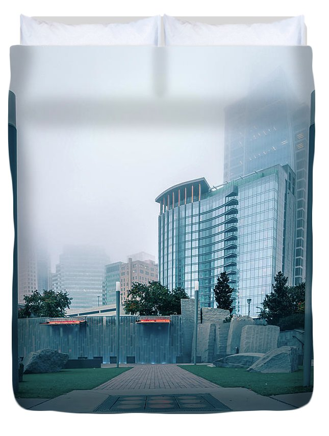 City Duvet Cover featuring the photograph Charlotte North Carolina City Skyline And Downtown by Alex Grichenko