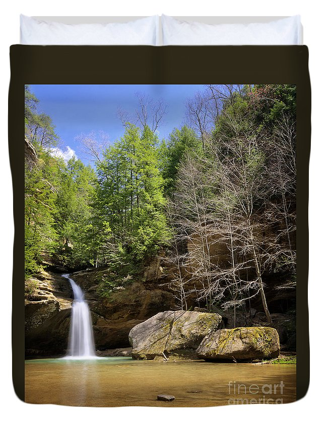 Hocking Hills Duvet Cover featuring the photograph Hocking Hills Waterfall by Michael Shake