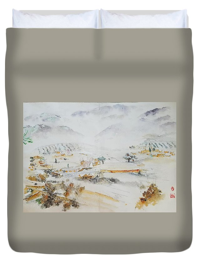 Italy. Matera. Landscape. Winter. Snow Duvet Cover featuring the painting Italy The Red And Green Album by Debbi Saccomanno Chan