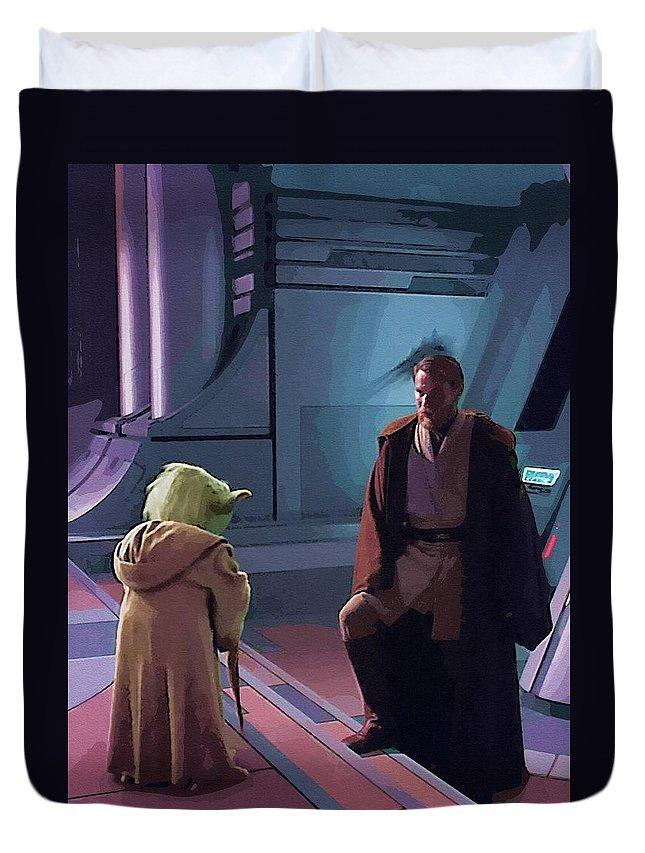 Star Wars Republic Duvet Cover featuring the digital art Original Star Wars Poster by Larry Jones