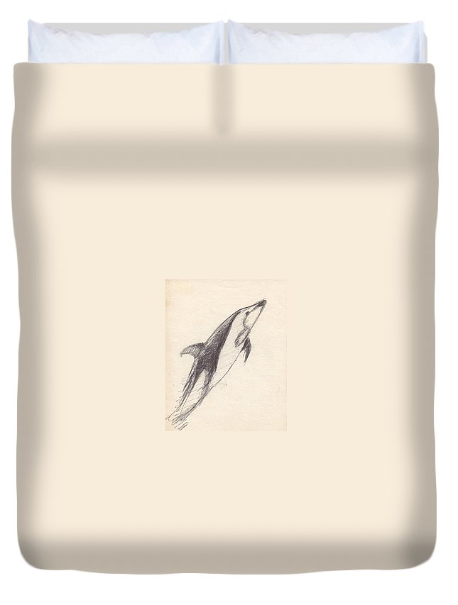 Dolphin Duvet Cover featuring the drawing Untitled by T Ezell