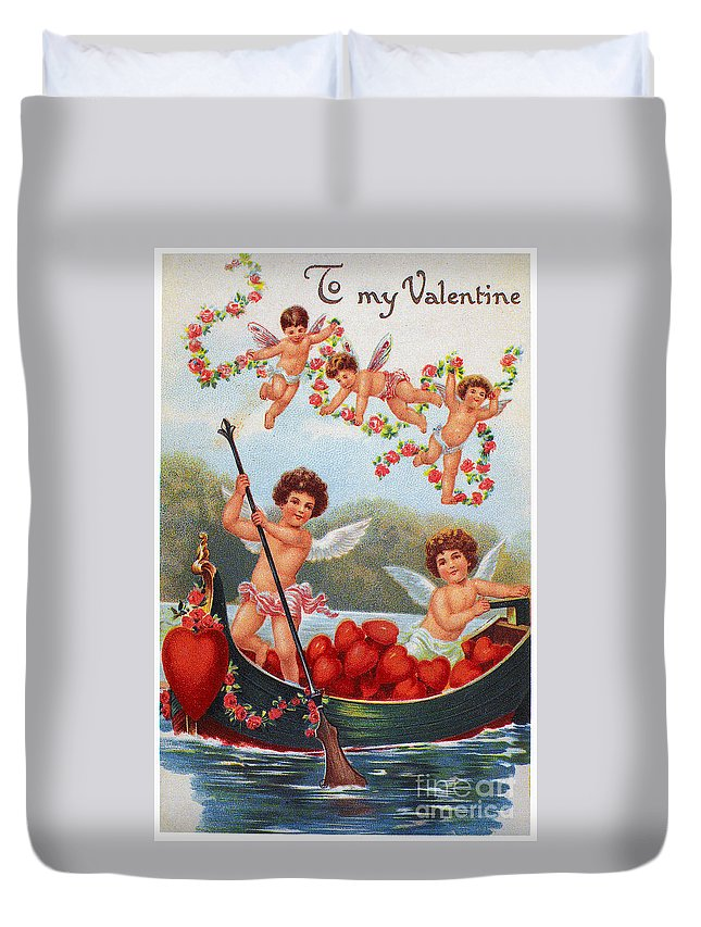 1913 Duvet Cover featuring the photograph Valentines Day Card by Granger