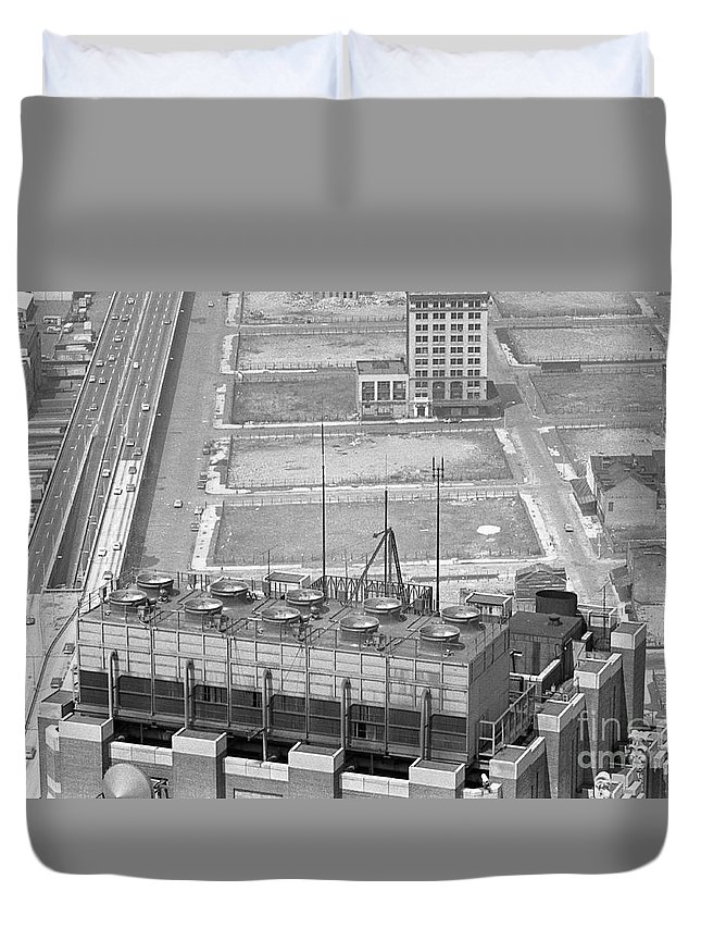 World Trade Center Construction Black And White View From Tower 1967 Duvet Cover featuring the photograph World Trade Center Under Construction 1967 by Bob Bennett
