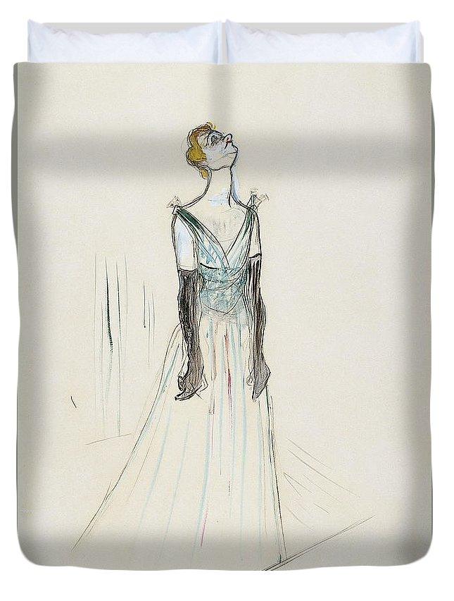 Singers Duvet Cover featuring the painting Yvette Guilbert by Henri De Toulouse Lautrec
