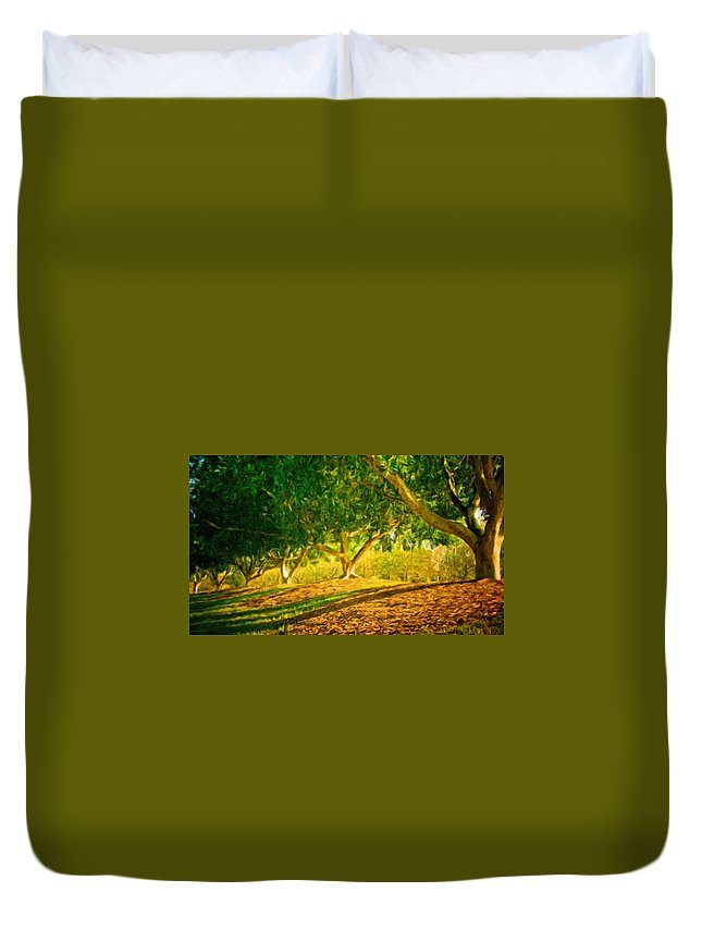 Landscape Duvet Cover featuring the painting Nature Landscape Pictures by World Map