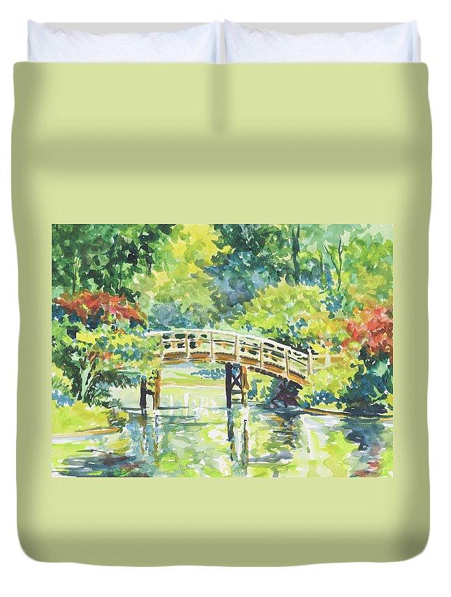 Missouri Botanical Garden Duvet Cover featuring the painting 159 Mobot Japanese Bridge by Marilynne Bradley