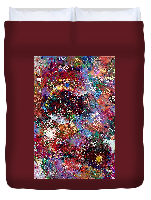 Abstract Duvet Cover featuring the painting 16-2 Yellow Space by Patrick OLeary
