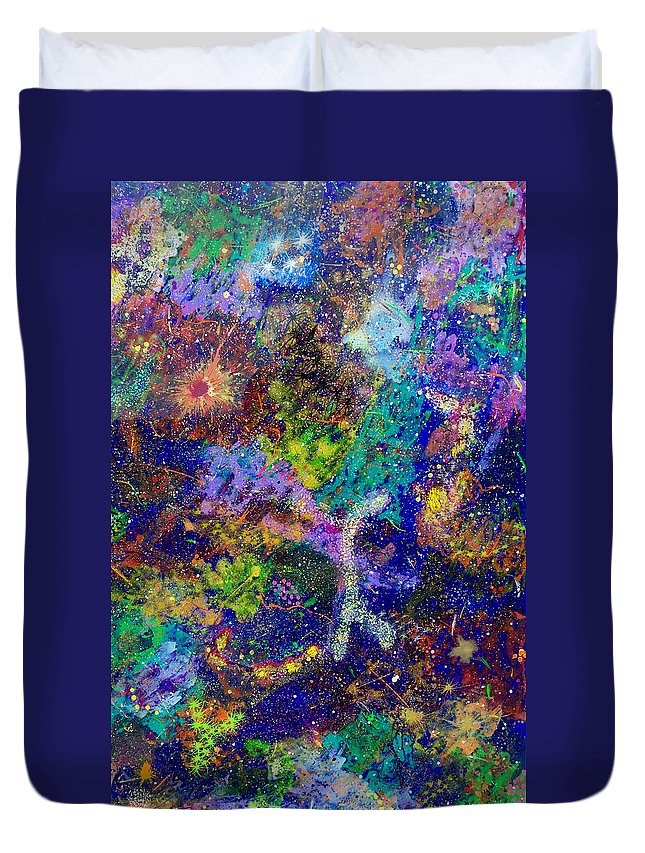 Abstract Duvet Cover featuring the painting 16-6 Lambda Sky by Patrick OLeary