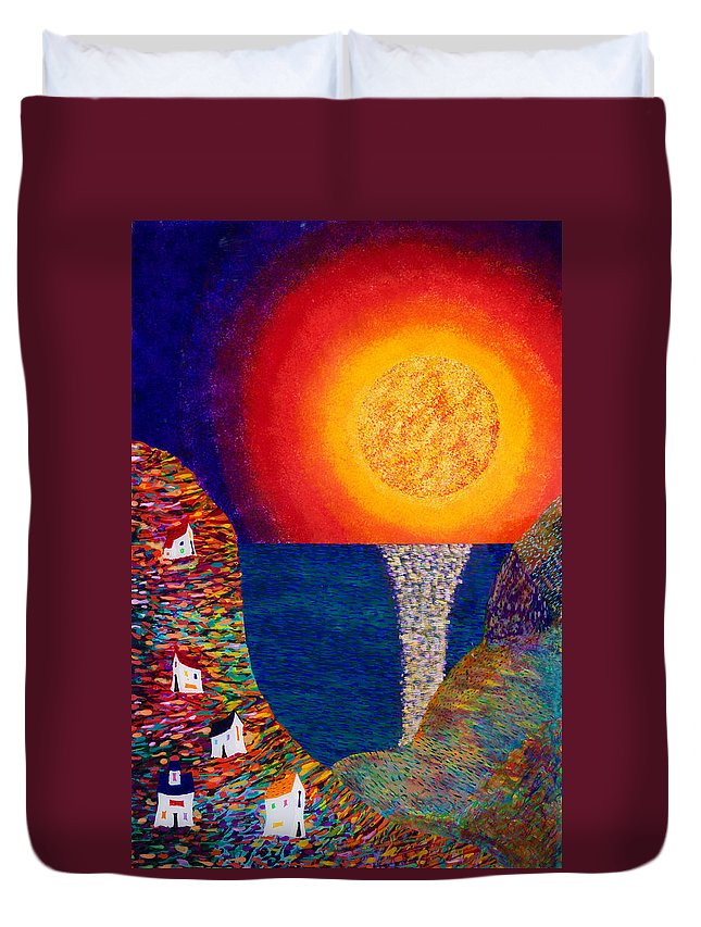 Abstract Duvet Cover featuring the painting 16-7 Village Sun by Patrick OLeary