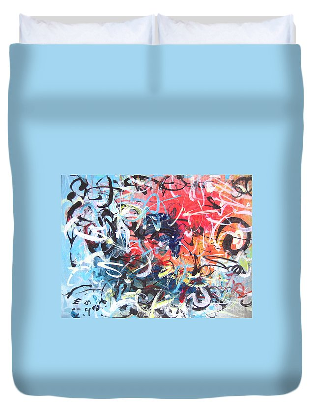 Abstract Landscape Painting Duvet Cover featuring the painting Abstract Calligraphy by Seon-jeong Kim