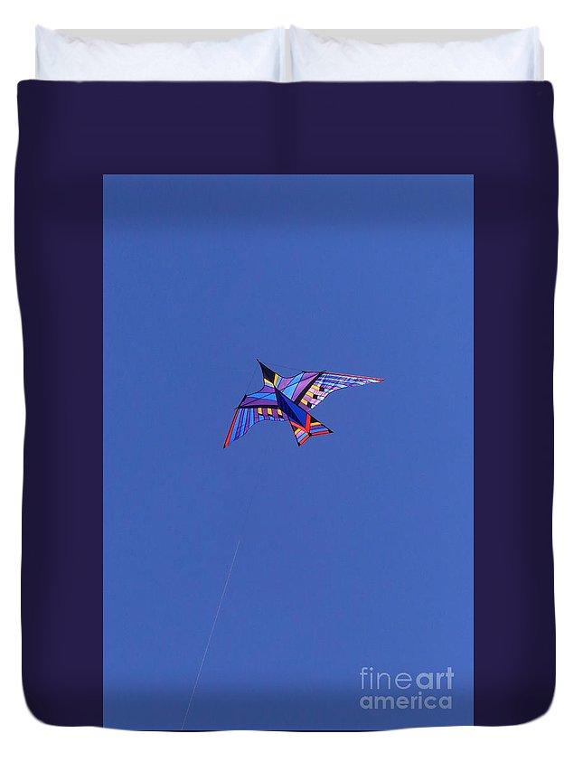 Rainbow Duvet Cover featuring the photograph Flying Bird Kite by Douglas Sacha