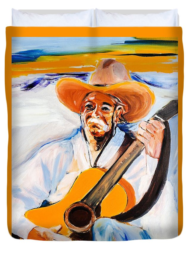 Mexican Guitarman Duvet Cover featuring the painting 16 by Gene Traganza