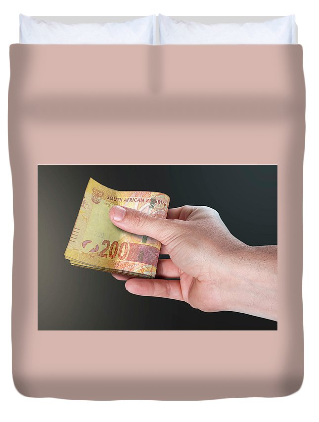 South Africa Duvet Cover featuring the digital art Hand Passing Wad Of Cash by Allan Swart