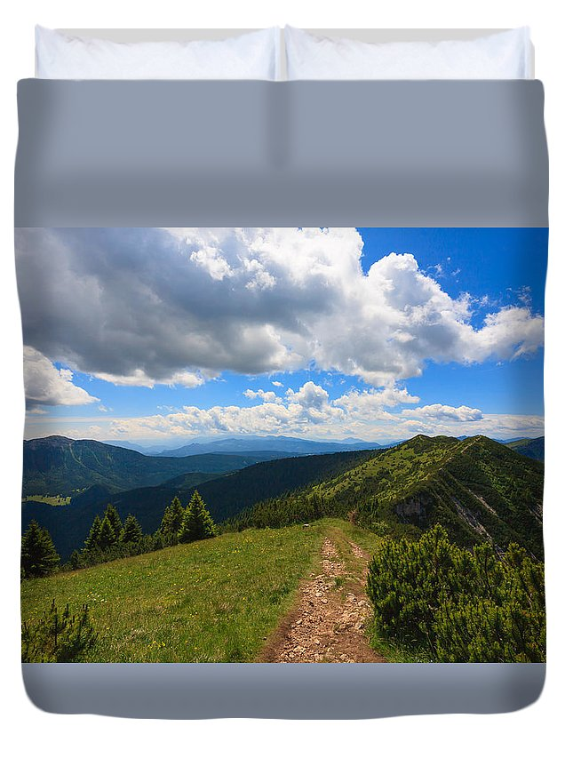 Pinus Mugo Duvet Cover featuring the photograph Mountain Panorama, Italy by Davide Guidolin