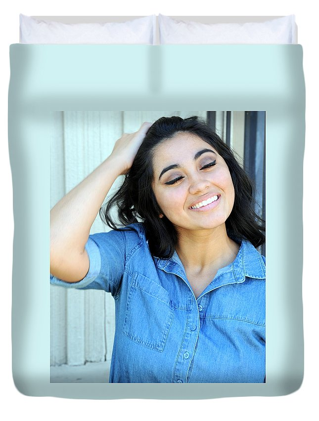 Native American Duvet Cover featuring the photograph Native American Female. by Oscar Williams