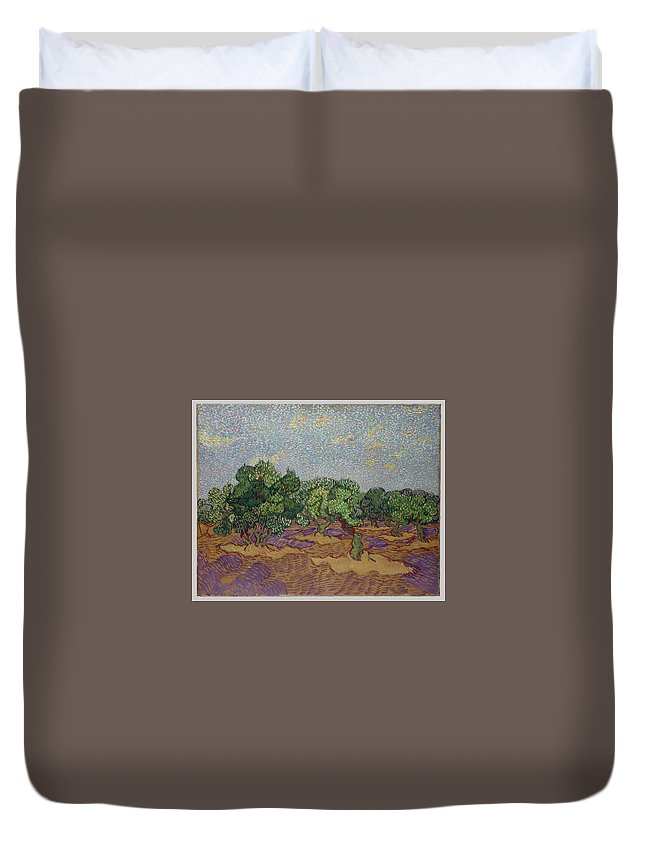 Olive Trees Duvet Cover featuring the painting Olive Trees by Vincent van Gogh