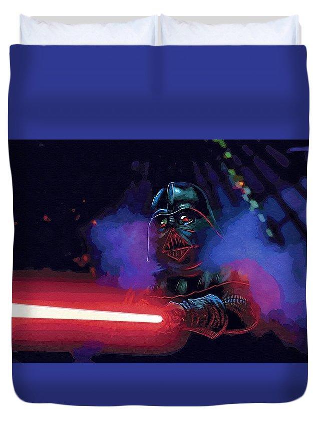 Star The Clone Wars Wars Duvet Cover featuring the digital art Saga Star Wars Poster by Larry Jones